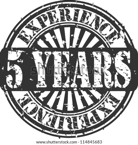 Grunge 5 years of experience rubber stamp, vector illustration