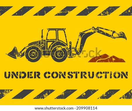 Grunge yellow under construction pattern with gray excavator silhouette - stock vector