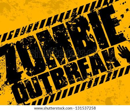 Grunge zombie outbreak - stock vector