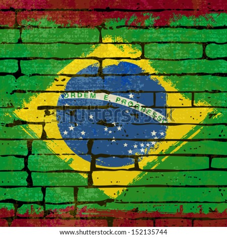 Grunged Brazilian Flag over a brick wall  background  illustration - stock vector