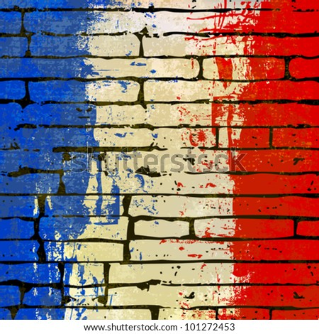 Grunged French Flag over a brick wall  background  illustration