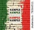 Grunged Italian Flag over a brick wall vector background - stock vector