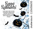 Grungy Abstract Halloween Background with Florals and Bats - stock vector