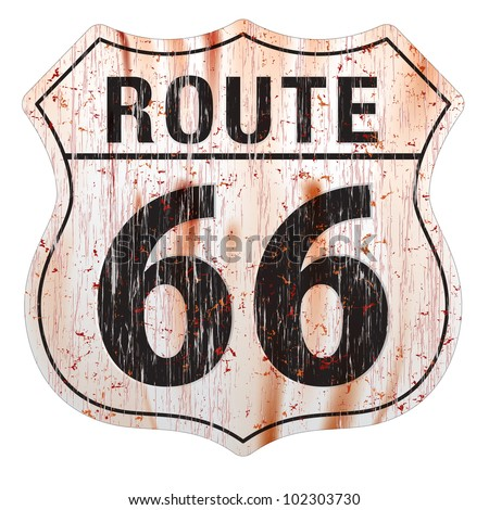 Grungy and rusted route sixty six icon on white background - stock vector