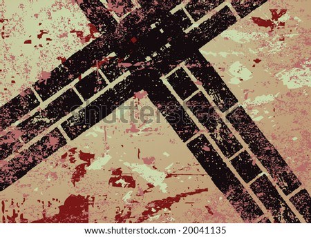 Grungy background and automobile tracks illustration - stock vector