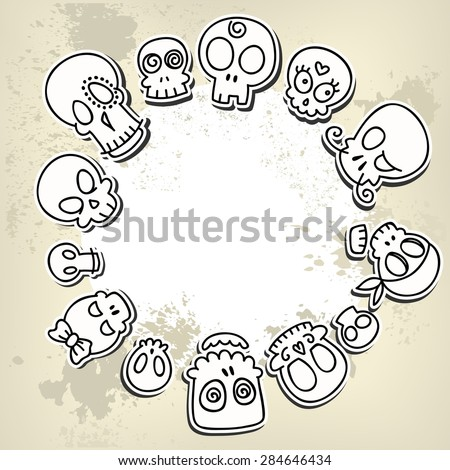 grungy background with different cute sketchy  skulls  - stock vector