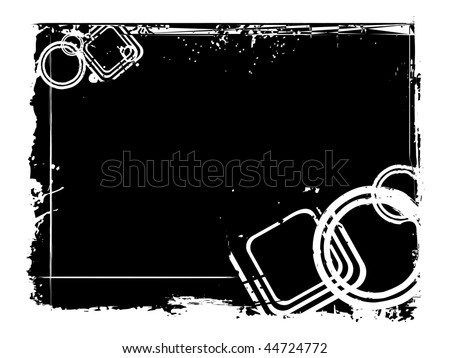 grungy black frame with circle, vector illustration - stock vector