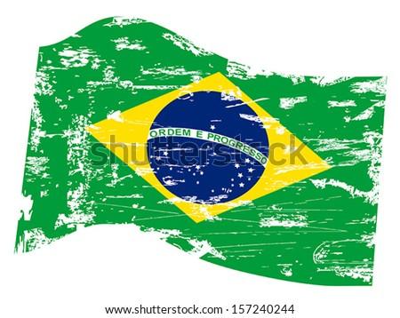 grungy Brazil flag  - stock vector