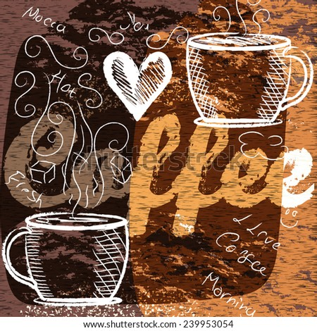 Grungy coffee background for design - stock vector