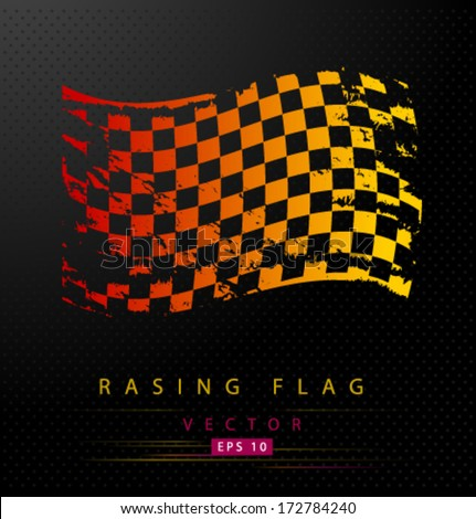 Grungy colored racing flag - stock vector