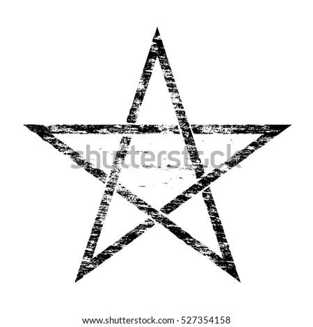 Grungy distressed occult pentangle symbol rubber stamp vector illustration