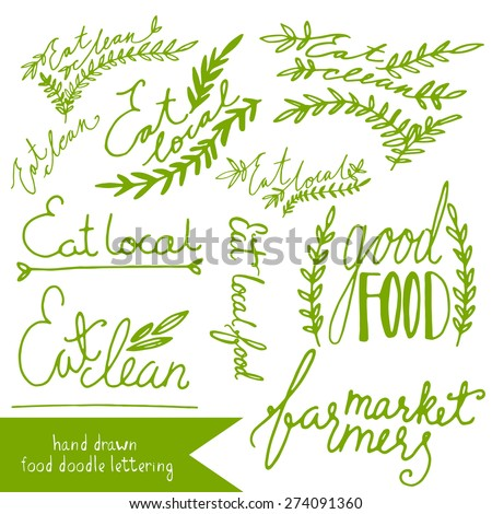 Grungy doodle organic farm market eat clean icons - stock vector
