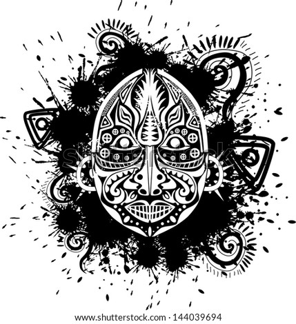 grungy ethnic mask tribal style - stock vector