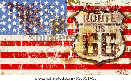 grungy famous route sixty six road sign w. stars and stripes, retro vector