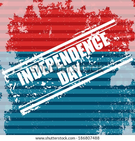 Grungy flag background with isolated stamp for 4th July or 15th August Independence day - stock vector