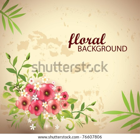 Grungy floral background-Vector Eps10 - stock vector