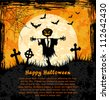 Grungy  halloween background with jack o lantern, full moon and bats. Vector Illustration. - stock vector