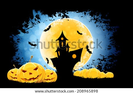 Grungy Halloween Background with Moon, Haunted House and Pumpkins - stock vector