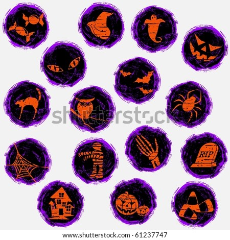 Grungy halloween icons (eps10); jpg version also available - stock vector
