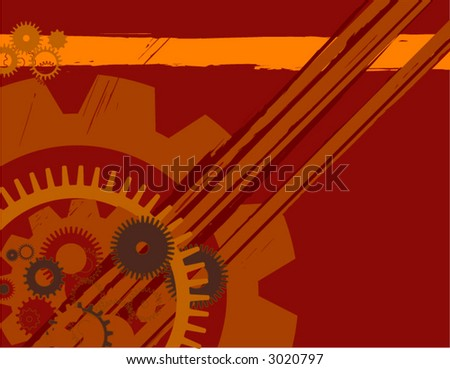 grungy industrial, graffiti-like, mechanical background. (design element) - stock vector
