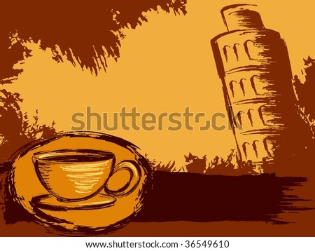 Grungy Italian coffee background(vector); a JPG version is also available - stock vector