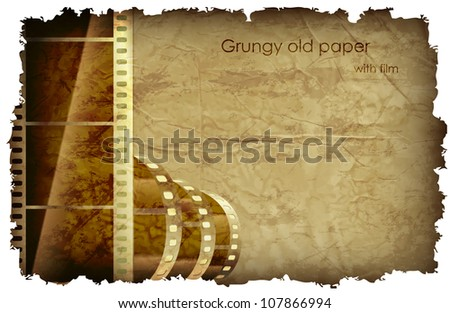 grungy old paper with foil and place for your text - stock vector