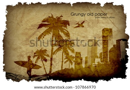 grungy old paper with palm trees and the urban surfer - stock vector