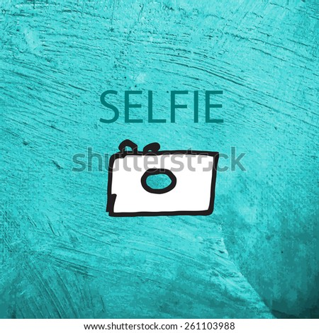 Grungy painting texture with an Icon. - stock vector