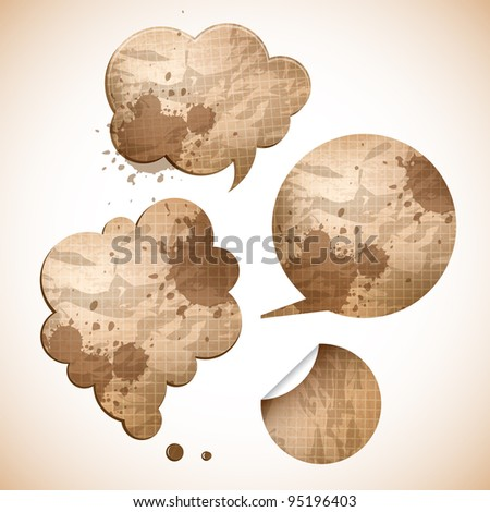 grungy paper speak bubbles and sticker - stock vector