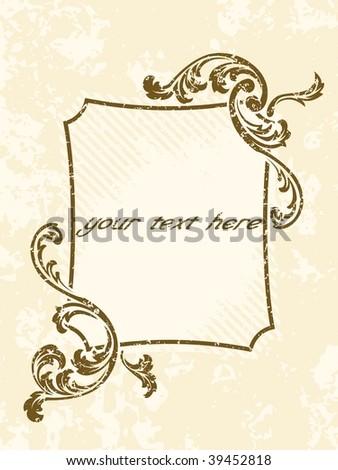 Grungy rectangular vintage sepia frame (vector); a JPG version is also available - stock vector