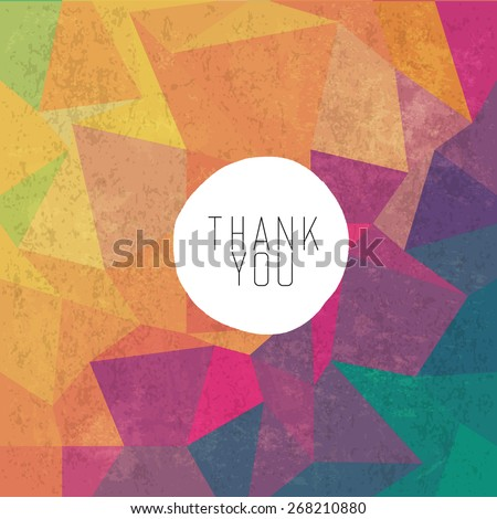 Grungy retro background with Thank You message - stock vector