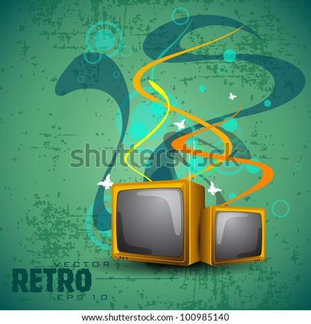 Grungy retro floral background with television and copy space for your text. EPS 10. Vector illustration.