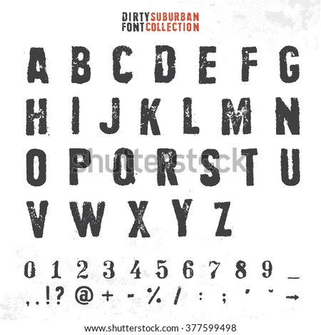 Grungy rubber stamp font. Vector alphabet with numbers and symbols. - stock vector