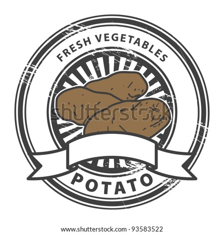 Grungy rubber stamp with Potato shape and the words Potato, Fresh Vegetables written inside the stamp, vector illustration