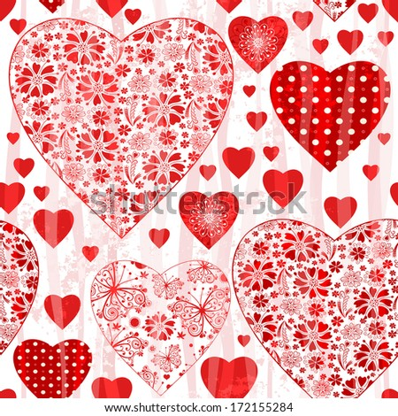 Grungy seamless valentine pattern with floral red hearts and wave  translucent strips (vector eps 10) - stock vector