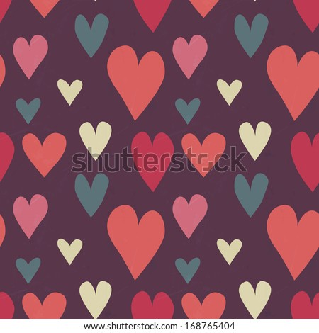 Grungy seamless vector heart pattern for valentine's day - stock vector
