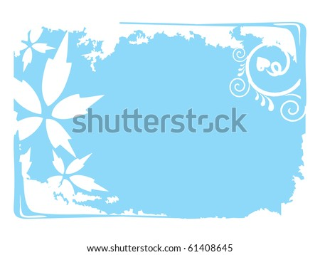 grungy sky blue background with blossom pattern frame - stock vector