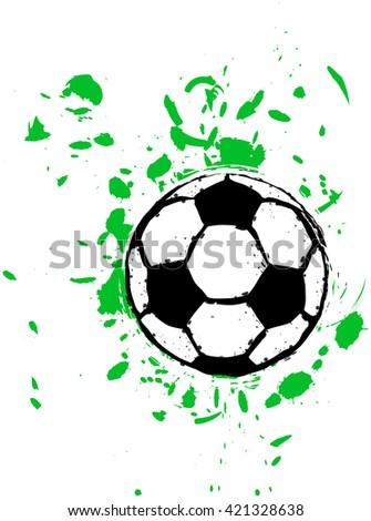 grungy soccer ball, vector - stock vector