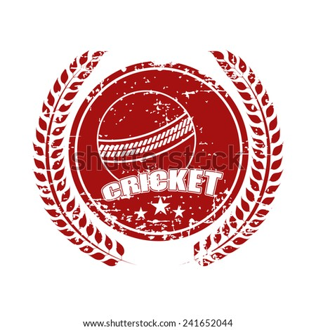 Grungy sticky design with ball and laurel wreath for Cricket on white background.