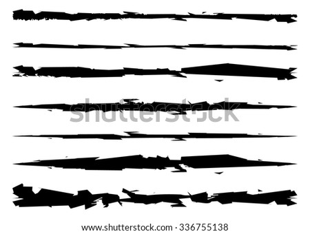 grungy, textured brush strokes, rip, scratch vector - stock vector