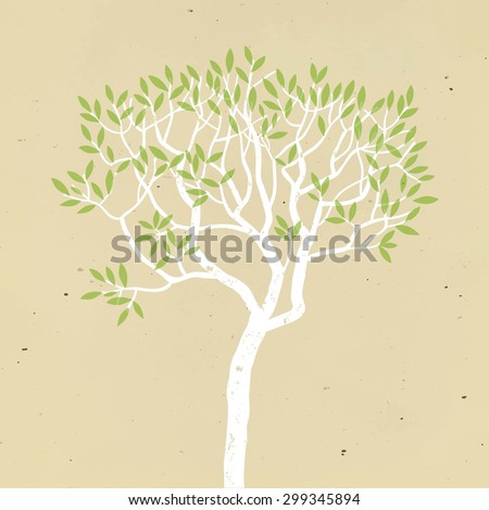 Grungy tree logo on old paper background. Nature and environment ecology theme. Vector illustration for your design.