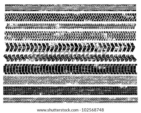 Grungy truck and car tyre track illustrations - stock vector