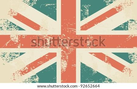 grungy UK flag - stock vector