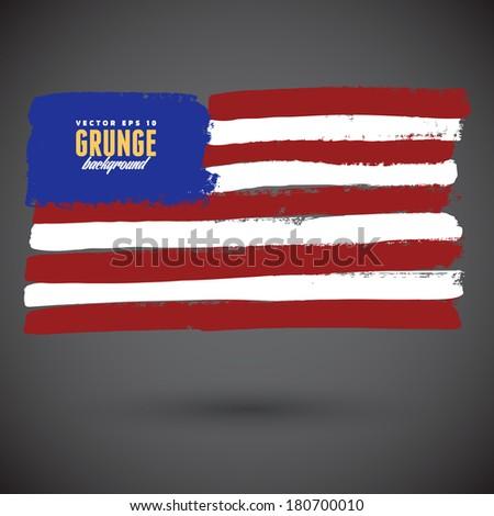 Grungy USA flag - stock vector