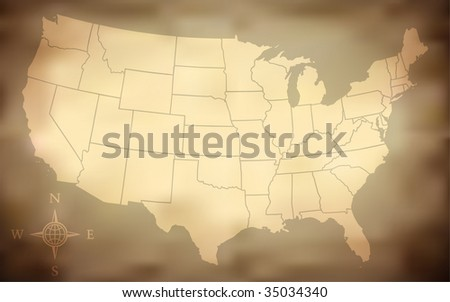 Grungy USA Map (Vector ) - stock vector