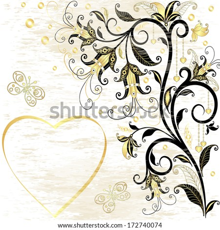 Grungy valentine frame with floral pattern and gold translucent heart (vector eps 10) - stock vector