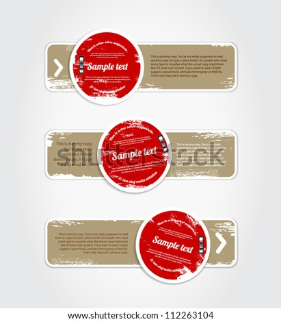 Grungy vintage vector labels / banners / stickers / tags with worn out paint texture, red and beige - stock vector