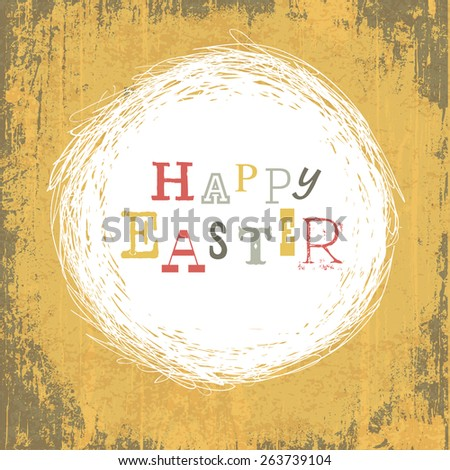 Grungy Vintage Yellow Easter Background - stock vector