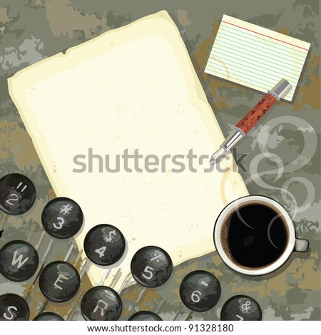Grungy writers desk with stained paper and notes, coffee, pen and typewriter