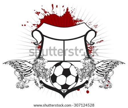 gryphon soccer coat of arms crest in vector format  - stock vector